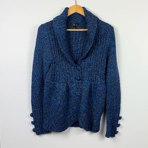 ONE A blue shawl collar cardigan size L